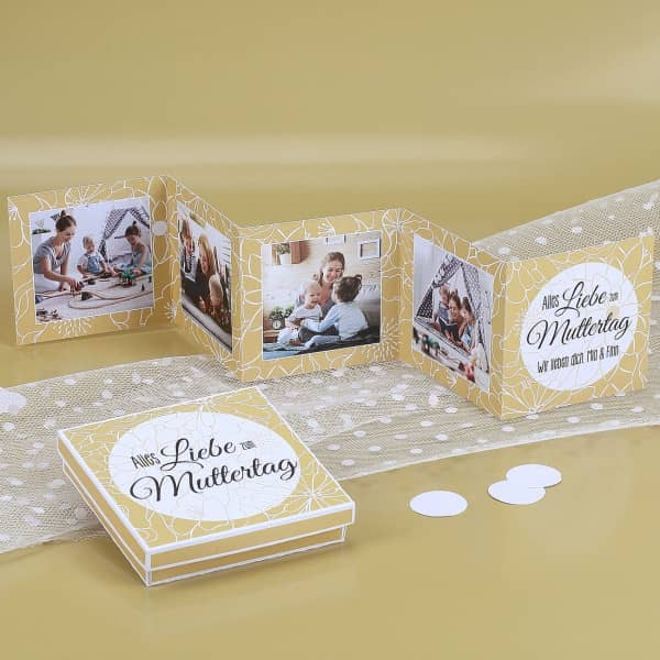 - Mini Fotobuch und Box zum Muttertag mit gelbem Blumenmuster - Onlineshop Geschenke online.de