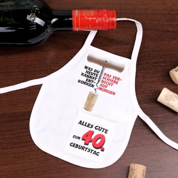 Mini Schürze für Flasche zum 40. Geburtstag
