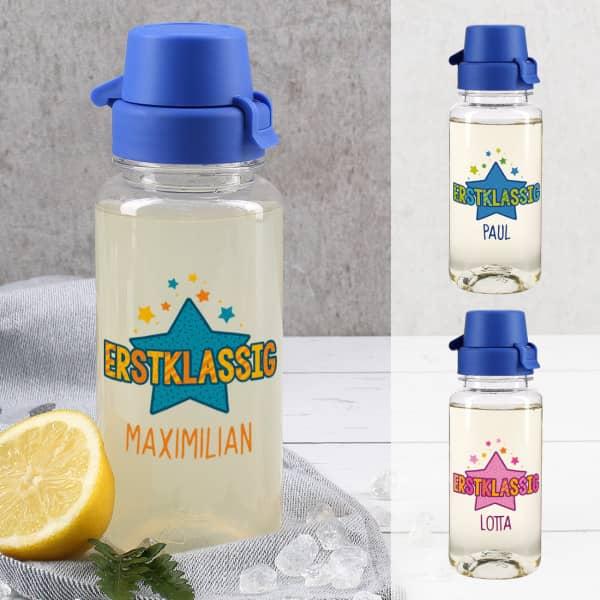 Erstklassig transparente Trinkflasche zum Schulanfang in drei Varianten