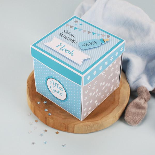Überraschungsbox zur Geburt, Babygeschenk für Jungen