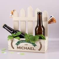 Pflanzkiste Biergarten mit persönlichem Druck als DIY Geldgeschenk