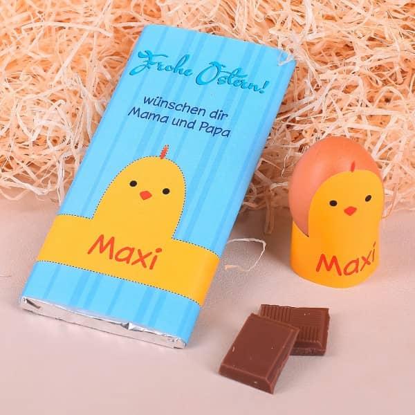 Bastelanleitung auf witziger Schokolade zu Ostern