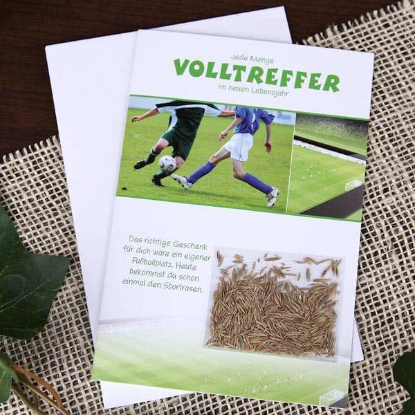 Grußkarte für Fußballer mit Grassamen