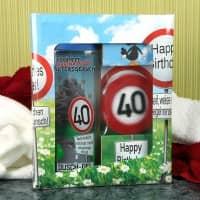 lustiges Geburtstagsgeschenk - Badset Verkehrszeichen zum 40. Geburtstag