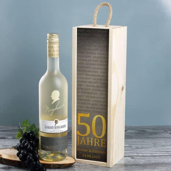 Weißwein in persönlicher Box zur Goldenen Hochzeit