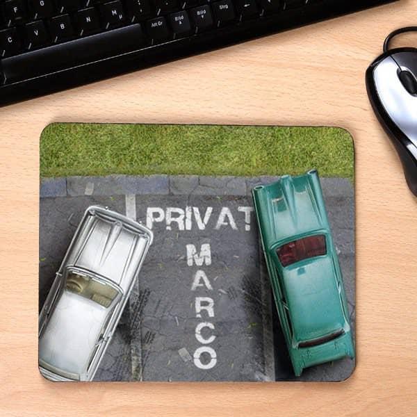 Mousepad mit Wunschname und Parkplatz