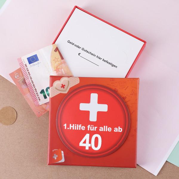 Geschenkschachtel 1.Hilfe zum 40. Geburtstag aus Pappe