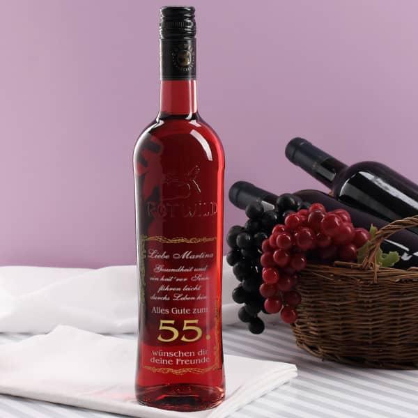 Roséwein mit zweifarbiger Gravur