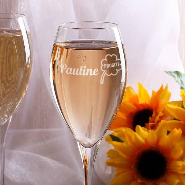 Champagnerglas mit Wunschname und Kleeblatt graviert
