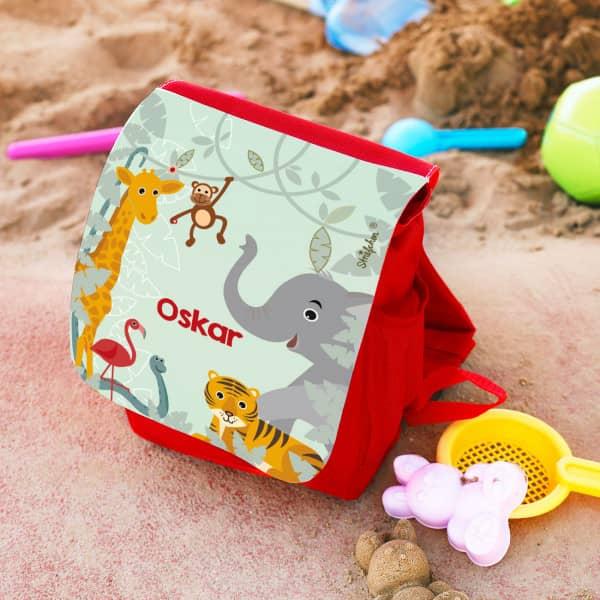 roter Kinder Rucksack mit wilden Tieren und Ihrem Namen
