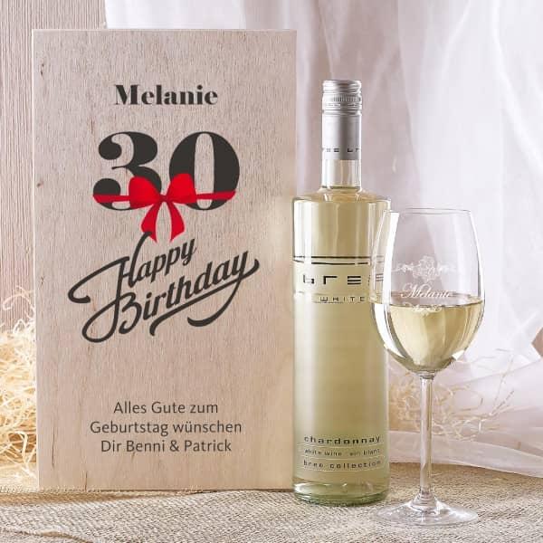 Weinset in Holzbox zum 30. Geburtstag