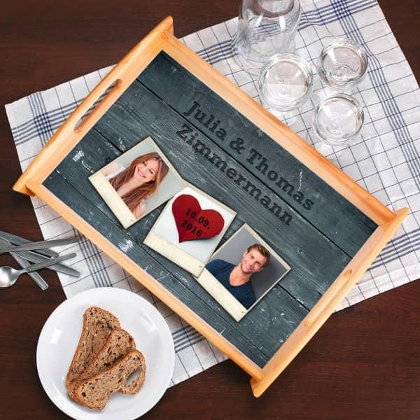 Holztablett mit Fotos, Datum und Wunschtext