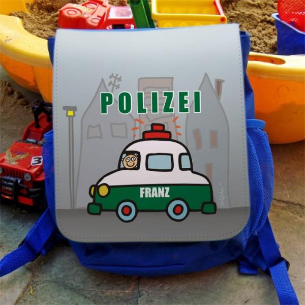 Kinderrucksack mit Polizeiauto und Namen