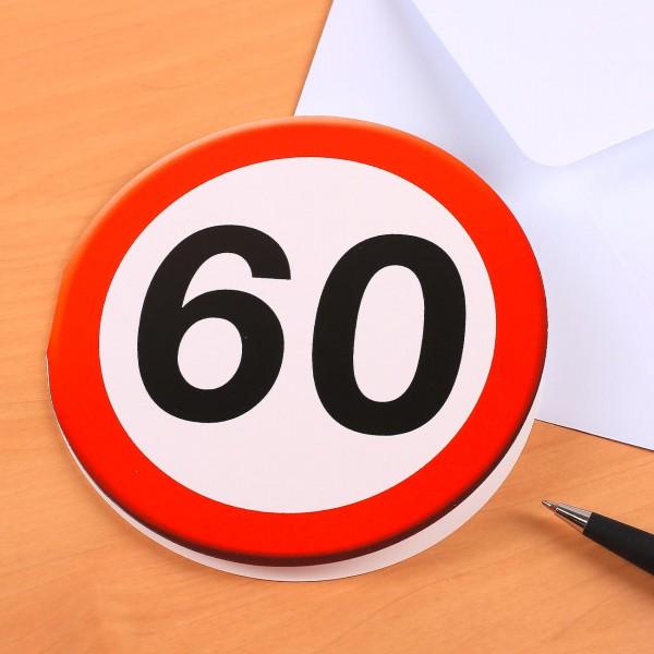 Grußkarte zum 60. Geburtstag mit Verkehrszeichen