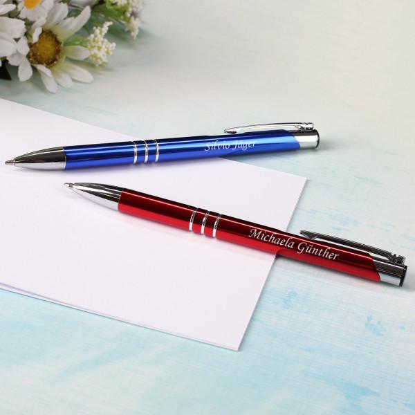 Kugelschreiber mit Gravur in Blau und Rot