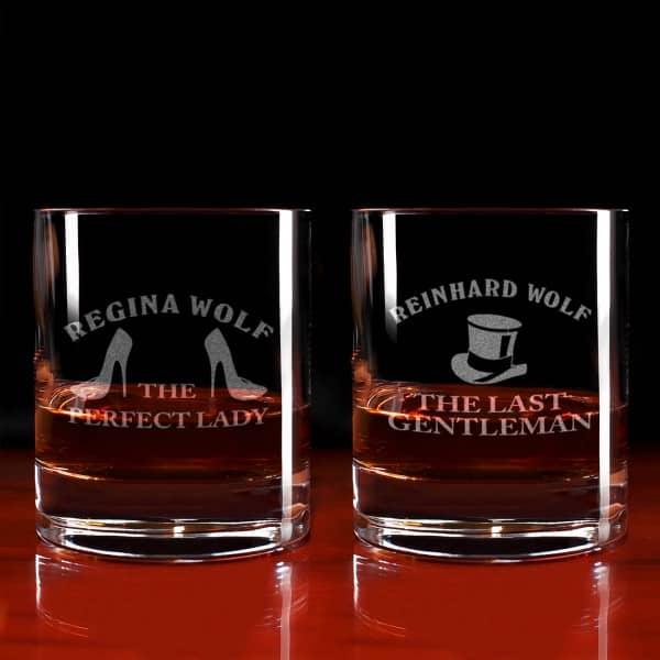 Graviertes Whisky-Gläserset für Sie und Ihn mit Wunschnamen