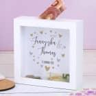 Geldgeschenk zur Hochzeit - Bilderrahmen Spardose mit Herzen, Namen und Datum