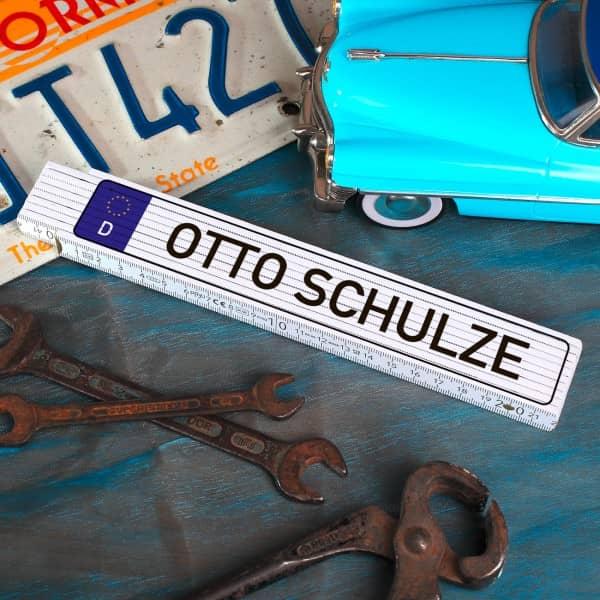 Zollstock Nummernschild mit Wunschname