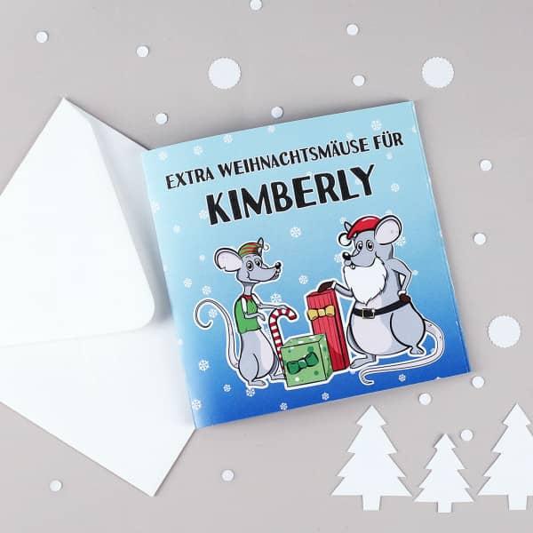 """Geldkarte """"Extra Weihnachtsmäuse"""" mit Ihrem Wunschnamen bedruckt"""