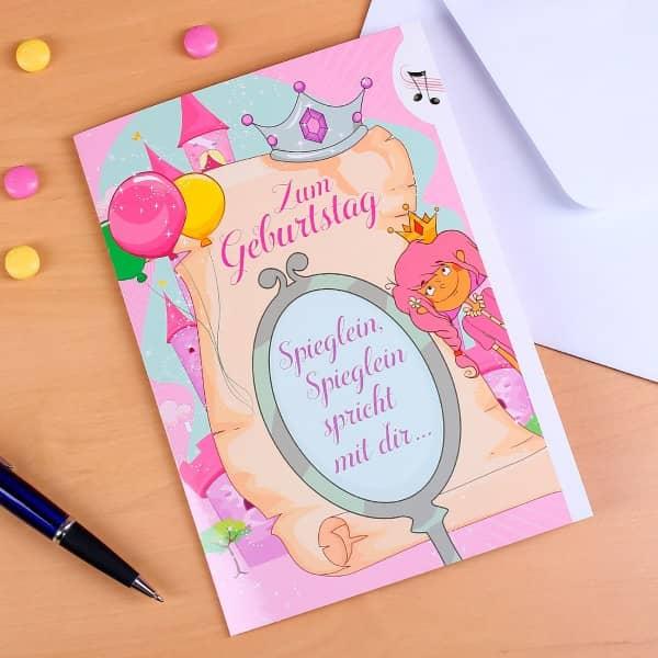 Geburtstagskarte mit Licht und Sound für Prinzessinnen