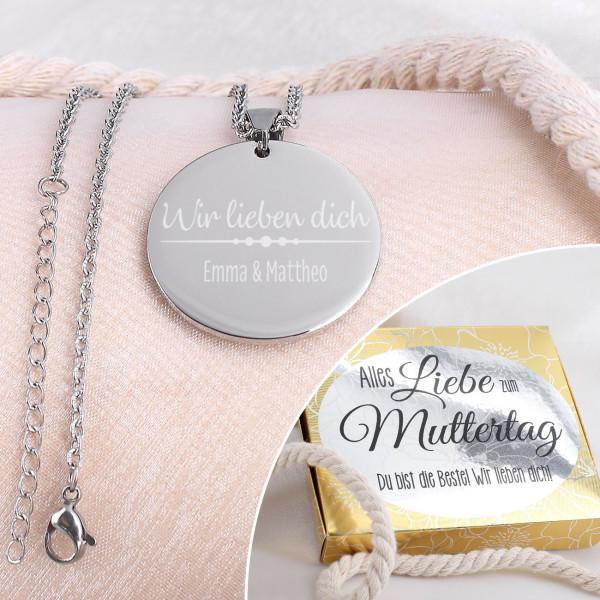Individuellschmuck - Gravierte Halskette mit Schmuckbox zum Muttertag - Onlineshop Geschenke online.de