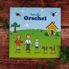 Schiefertafel - Sommerfamilie im Garten