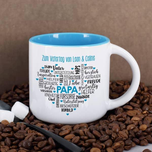 Geschenk für Papas - Kaffeepott mit Herz und Wunschtext