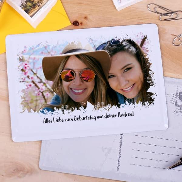 nostalgische Postkarte aus Metall mit Ihrem Foto und Text