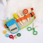 Frisiergürtel mit Holzutensilien und Namensaufdruck für Kinder