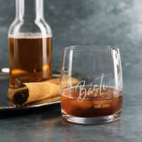 Modernes Whiskeyglas mit Wunschtexten - zum Geburtstag, Vatertag, für Trauzeugen