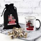 Eat, Drink and be Merry - Weihnachts-Set mit Tasse und Schokokugeln in Geschenksack