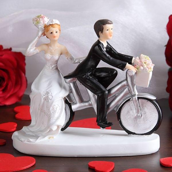 Figur Brautpaar auf Fahrrad - Silber