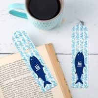 Anglergeschenk - 2 Lesezeichen mit Name und Fisch