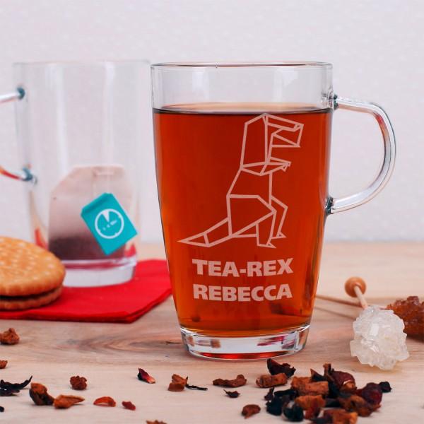 Teeglas mit Tea-Rex Motiv und Ihrem Namen