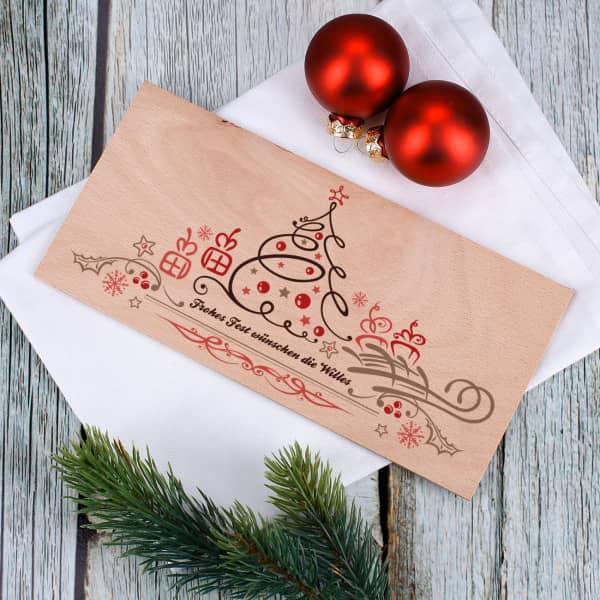 Holzpostkarte mit Weihnachtsmotiv zum verschicken mit Ihrem Wunschtext