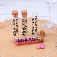 4 kleine Reagenzgläser mit Korken Mr & Mrs