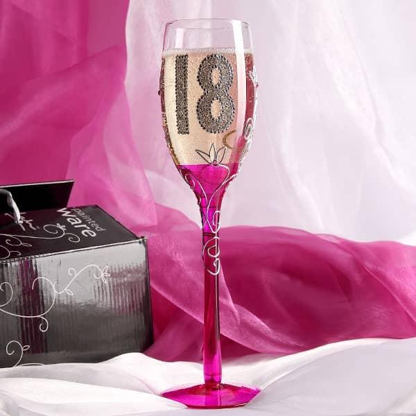Champagner Glas mit farbigem Stiel zum 18.Geburtstag