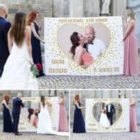 Hochzeitsbanner zum Ausschneiden mit Foto - In Liebe verbunden