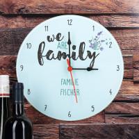 Glasuhr We Are Family mit Wunschtexten bedruckt