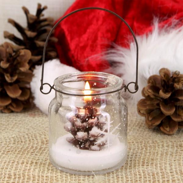 Kerze im Glas mit Metallbügel - TannenzapfenKerze im Glas mit Metallbügel - Tannenzapfen