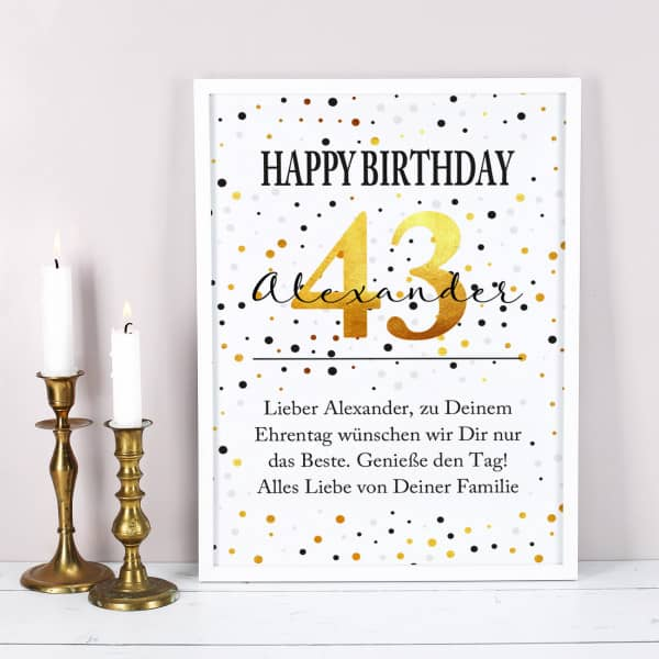 Bilderrahmen zum Geburtstag mit Ihrem persönlichen Wunschtext gestaltet