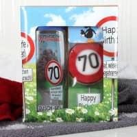 lustiges Geburtstagsgeschenk - Badset Verkehrszeichen zum 70. Geburtstag