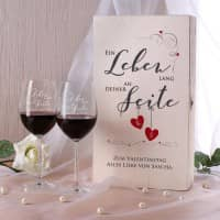 Ein Leben lang an deiner Seite - zwei Weingläser in Holzbox