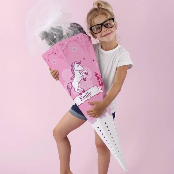Schultüte für Mädchen mit Pink Pony und Name