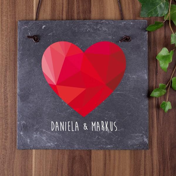 Schiefertafel polygonales Herz Namen