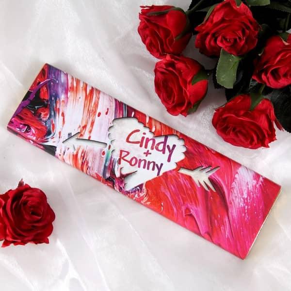 schokoladige Liebesbotschaft zum Valentinstag mit Wunschnamen