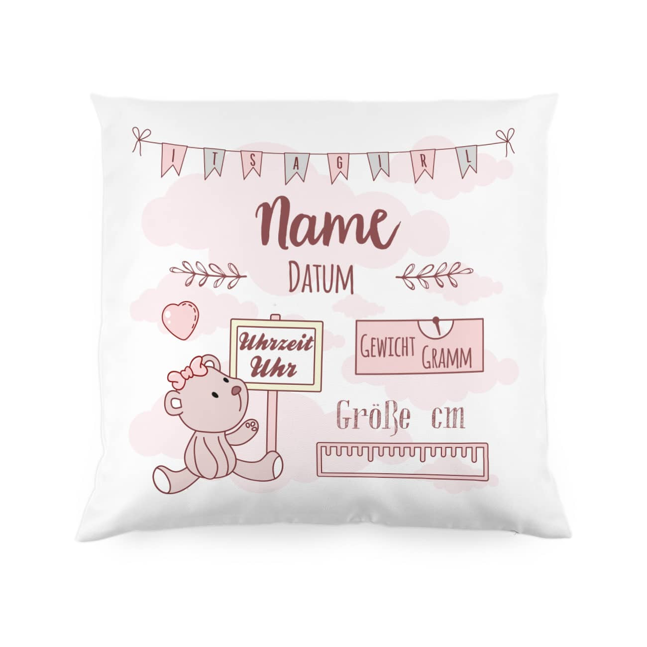 Personalisiertes Kissen Zur Geburt Fur Madchen Als Babygeschenk