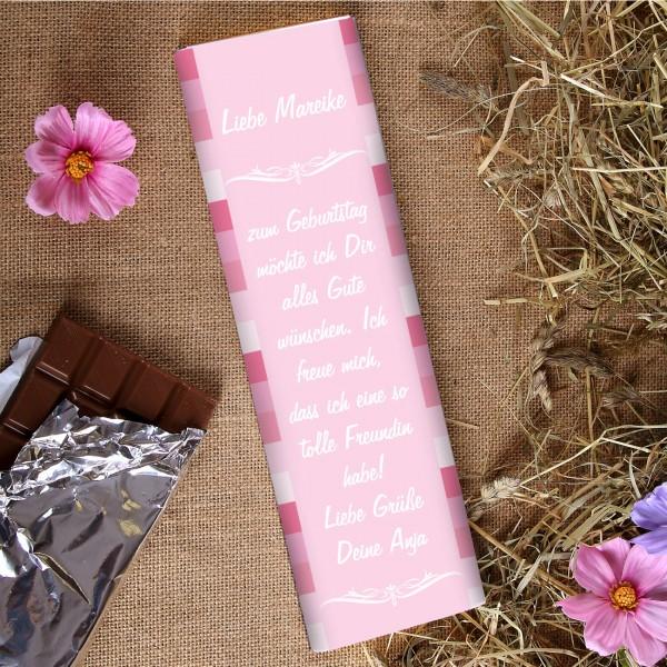 XL Schokolade in pink mit Namen und Wunschtext für Frauen