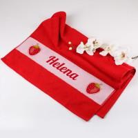 Handtuch in rot mit Erdbeeren und Wunschname