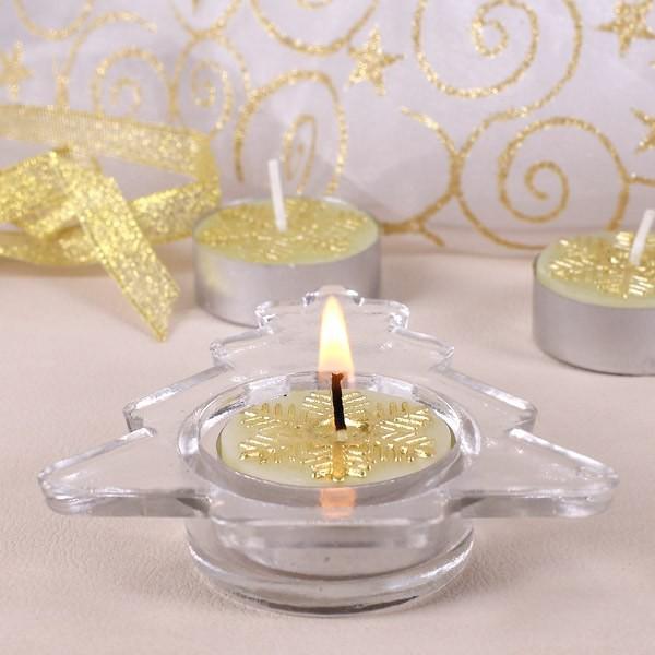 Teelichthalter mit Teelicht in Gold